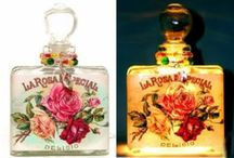 Perfume Bottle Night Lights (Nightlights) USA Made / These romantic and feminine nightlights are crafted from perfume bottles with vintage graphics.  They are filled with twinkling lights for a very sweet effect.