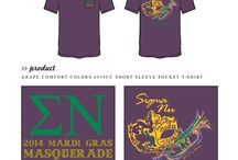 Mardi Gras / Greek sorority and fraternity custom shirt designs featuring Mardi Gras themes. For more information on screen printing or to get a proof for your next shirt order, visit www.jcgapparel.com