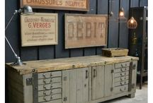 vintage, antique, industrial interior