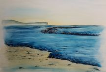 Marée montante sur la plage de veules les roses, aquarelle 60x 80