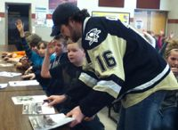Robo's Readers  / Penguins players Denver Manderson, Mike Carman, Reid McNeill and Barry Goers - along with Tux The Penguins Mascot and Scotty Saver from Cross Valley Federal Credit Union visited L.R. Appleman Elementary School in the Benton school district today to congratulate the first half winners of the ROBO'S READERS program. Shannon Yedloski's 6th grade and Shannon Uram's 2nd grade classrooms read the most books in their grade groups. Congrats to the kids, and keep on reading!