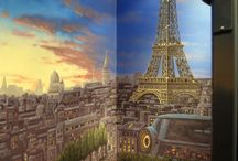 Paris Panorama 360 degree Mural hand-painted throughtout a 17 foot staircase.