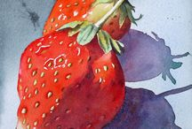 fruit and veg in watercolours