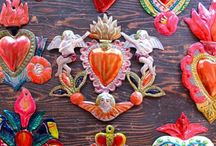 Sacred hearts folk art