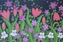 waterstarstudio / paintings, bright, bold colours, floral, birds
