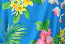 Hawaii, Polynesian tropical print dresses / Timeless Summer Tea-Length Bias Cut, Sleeves, Back Waist Darts, Bottom Flare Dress created in Regular & Plus Sizes: Coral, Black and Green. MauiShirts search box stock number:  W-Q-309O-ED