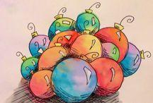 felictaciones de navidad acuarelata