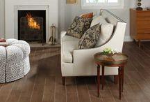Living Room Flooring / Wood floors and wood ceiling, wood-look tile, regular tile, etc.