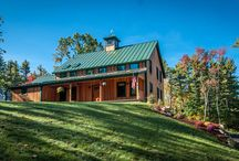Farmhouse Fantasies / Yankee Barn Homes is known for barn style homes, but what many don't realize is we build in many architectural styles. The farmhouse is a classic style which suite the timber frame structure perfectly.