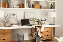 Home Office Design / Home office ideas on a budget! A creative work space for men and for women.  Organizing a small layout for two.  DIY Desk.  Modern, contemporary, rustic or white decor.