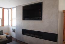 Fireplaces LimeStone Plaster in Concrete Finish