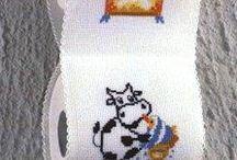 Toilet cross stitch