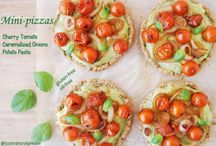 Cherry Tomato, Caramelized Onion, Potato Pesto Mini-pizzas (Gluten-free)