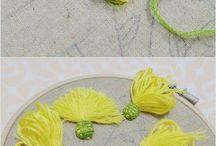 flores bordadas en pandereta