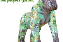 Ubuntu - The Great Gorilla Project / We worked with two local artists and organised a competition where by people send in illustrations of gorillas. These were then reduced in size, printed and applied to the white body of the blank gorilla. The finished gorilla is part of the Paignton Zoo Great Gorilla Project