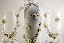 Wedding wine bottle and glasses