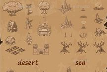 Game Level Map Design Assets / Design Assets for Game Level Map. It looks like an old hand painted map.  You can easily create your own unique map in a few minutes.  There are 4 different sets: the sea, flat land, the dark zone and the desert. There are more than 40 map objects and 9 scatter brushes.  Actual size is 2048×1536 pixels. 100% vector. #assets #game #vector #UI #cartoon #casual #awesome