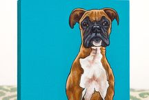 Boxer dog paintings