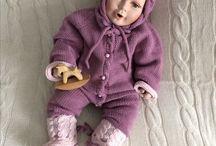 Сиреневый детский комбинезон, шапочка и пинетки / Костюмы для новорожденных