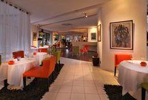 Restaurant / Le restaurant, un univers aux multiples facettes où la couleur s'installe, est agencé en différents espaces : le patio, le bar, la bibliothèque, la cheminée.