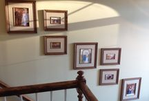 Picture collages on a stairway