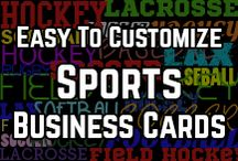 Spiffy Sports Business Cards / Whether you are a fan, player, coach or a sports parent, how about some sports business cards? These hockey, lacrosse, soccer, field hockey & baseball business cards are easily customized, all you need to do is type your text and you are ready to go!