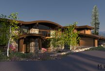 Martis Camp 87 / Mountain Modern curved roof with lots of glass