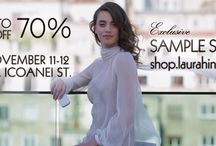 Sample Sale 2017 / EXCLUSIVE SAMPLE SALE UP TO 70% OFF   11 & 12 November  10 am to 7 pm Laura Hîncu's - 65A Icoanei Street  Now you can shop unique pieces and samples from shop.laurahincu.ro made of 100% silk. The pieces were previously used for events, fashion shows, press and shootings.  Every single piece will be immediately personalized with the customer's initials.   AVAILABLE SIZES: XS, S, M, L. CASH ONLY. NO RETURNS