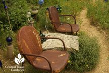 Salvaged stuff / Recycled and repurposed discards turned into furniture, garden art, containers and whimsey.