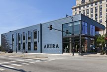 AKIRA Retail Store / The AKIRA store located in the heart of Chicago, is definitely fashion forward. Designed by ANTUNOVICH ASSOCIATES.  VMZ PIGMENTO blue and ANTHRA-ZINC Flat lock panels.