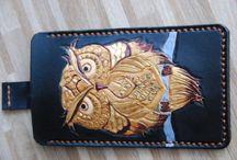 Gold Owl smartphone sleeve, veg tan leather, handcarved design.