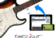 Fretlight Wireless Guitars / Connect to your smartphone or tablet and learn guitar anytime, anyplace! Extra bright LED's, over 100 hours of battery life and a Bluetooth range of nearly 50 feet give you the freedom to learn and play on the go - at the beach, on the road or in the comfort of your home studio. Using your smartphone or tablet makes learning fast, easy and fun!