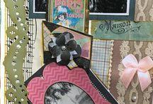 Mini Scrapbooking / vintage photo scrapbook with antique layout