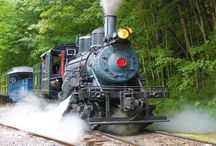Durbin Rocket /  Powered by a rare steam locomotive, Old #3 is one of only three operating Climax geared logging locomotives on earth! This 55-ton antique was built in 1910. Ride in authentic 1920-era coaches and vintage wooden cabooses behind #3 as she puffs and whistles her way along the free-flowing Greenbrier River in Northern Pocahontas County. Your ride covers 10.5 miles in 2 hours and offers many beautiful river and mountain views in the Monongahela National Forest.  an