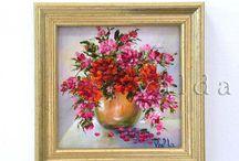 Vintage oil flowers
