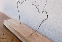 wire sculpture - faces