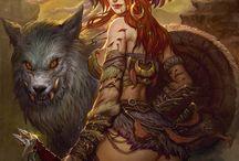 Mujer Con lobo
