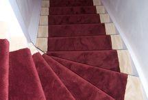 tapijt op trappen / Gestoffeerde open en dichte trappen