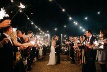 Weddings: Sparklers & festoon lights
