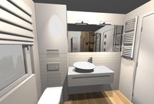 Mała łazienka - prysznic, okno - projekt