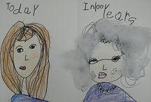 Portraits / Différents travaux d'enfants, de tous âges, sur le portrait et explications des techniques employées.