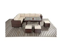 Patio Furniture Set Dining Table Stools Outdoor Garden Corner Sofa Rattan Large
