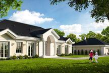 Projekt domu Rezydencja parkowa 4 / Projekt to piękna parterowa willa wiejska, przywołująca szlachecki dworek, albo angielski czy amerykański manor house. Rozłożysta podłużna bryła, zbudowana na planie prostokąta, przykryta jest ładnym czterospadowym dachem.