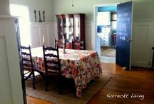 #board and batten #grey #dining room #anthropologie #table cloth #farmhouse