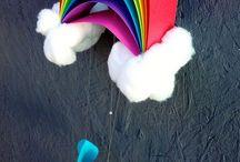 arcobaleno, nuvole e mongolfiere