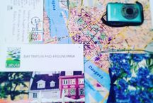 Riga, Latvia / My map and his backpack in Riga, Latvia!