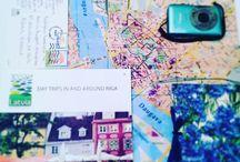 Riga, Latvia / My map and his backpack in Riga, Latvia!