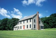 Salt Box Style Home Exterior / The New England Colonial style got its name because the sharply sloping gable roof that resembled the boxes used for storing salt.  The step roofline often plunges for two and one-half stores in front to a single story in the rear.