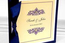 Ślub - granat, ecru, złoto / Zaproszenia i dodatki ślubne w kolorze granatowym, ecru i złotym