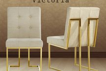 Victoria Linen Dining Chairs / Victoria Linen Dining Chair - Meridian Furniture- Featuring a beautiful contemporary design with tufted linen upholstery, the Victoria dining chair is a perfect addition to the home. This chair has a gold plated stainless steel base and intricate handy work. The Victoria is  available in Beige and Navy Blue.
